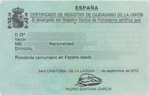 NIE - постоянно удостоверение за регистрация на гражданин на ЕС